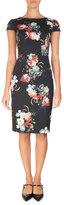 Erdem Marion Cap-Sleeve Sheath Dress, Black Pattern