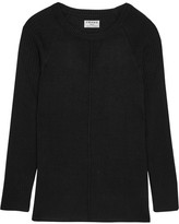 Frame Ribbed Silk And Cashmere-blend Top - Black