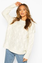 boohoo All Over Cable Knit Longline Jumper