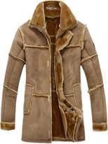 Allonly Men's Vintage Sheepskin Jacket Fur Leather Jacket Cashmere Shearling Coat