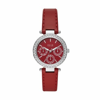 Elle Marais Multifunction Red Leather Watch