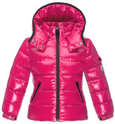 Moncler Bady Contrast-Trim Quilted Down Coat, Fuchsia, Size 4-6