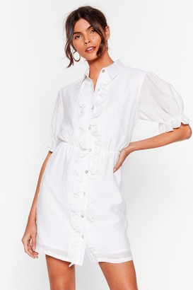 Nasty Gal Womens Get 'Em Where It Shirts Ruffle Mini Dress - White - 4, White