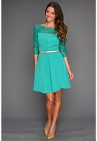 Jessica Simpson Long Sleeve Lace Combo Dress (Teal) - Apparel
