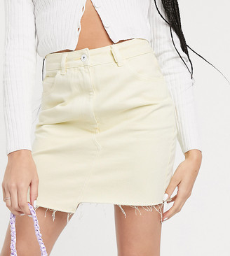 Collusion denim skirt in yellow