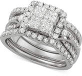Macy's Diamond 3-Pc. Halo Quad Bridal Set (2 ct. t.w.) in 14k White Gold