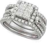 Macy's Diamond 3-Pc. Halo Quad Bridal Set (2 ct. t.w.) in 14k White Gold
