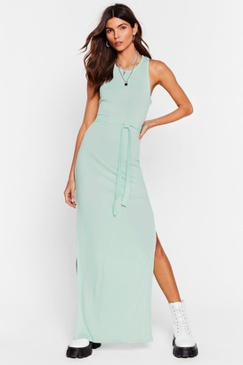 Nasty Gal Womens Slit 'Em Up Belted Maxi Dress - Yellow - 4, Yellow