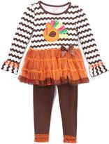 Nannette Brown & Orange Turkey Tunic & Leggings - Girls