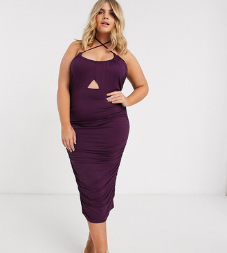 ASOS DESIGN Curve going out ruched midi dress with cut out in purple