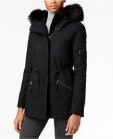 Calvin Klein Faux-Fur-Trim Wool-Blend Coat