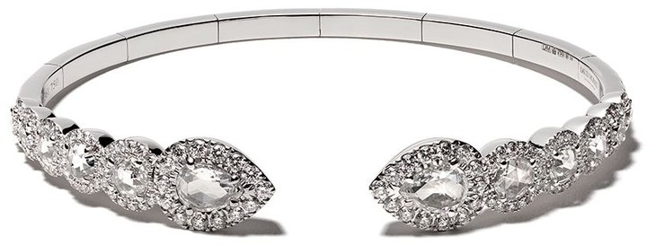David Morris 18kt white gold Rose Cut Flexi Pearshape and Round Diamonds bangle