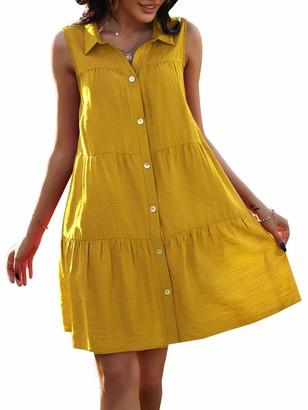 Bequemer Laden Women Summer Short Mini Dress Sleeveless Button Down Collared Casual Babydoll Shift Dresses Yellow