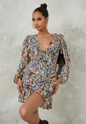 Missguided Purple Floral Ruched Ruffle Hem Mini Dress