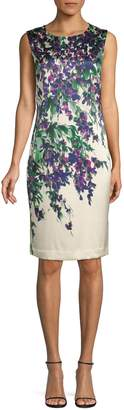 St. John Budding Floral Stretch Silk Sheath Dress