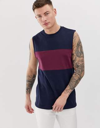 Asos DESIGN tank tank with contrast body panel in navy