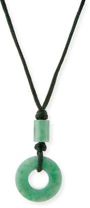 David C.A. Lin Open Green Jade Circle Pendant Necklace on Cord