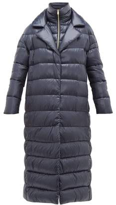 Herno Longline Ultralight Double Layer Quilted Coat - Womens - Navy