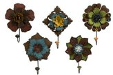 IMAX Caldwell Floral Wall Coat Hooks, Set of 5