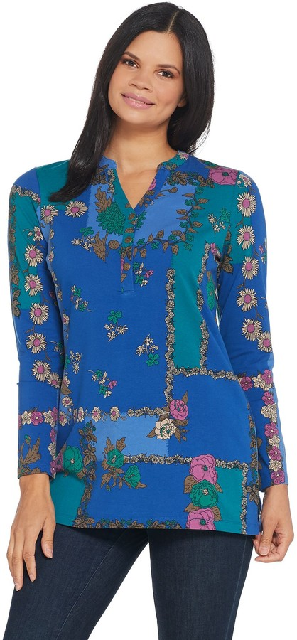 Denim & Co. Printed Perfect Jersey Y-Neck Long- Sleeve Tunic