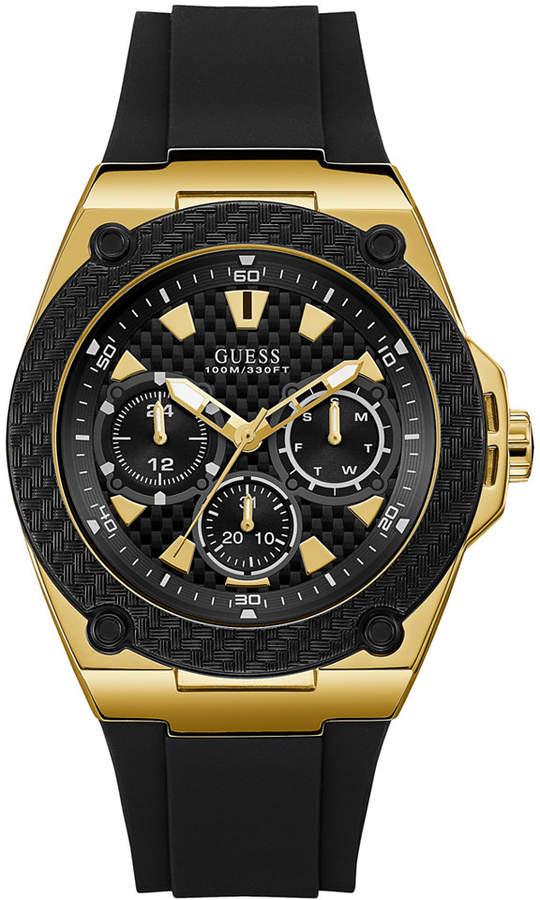 Men Black Silicone Strap Watch 45mm