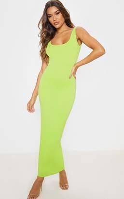 PrettyLittleThing Lime Basic Maxi Dress