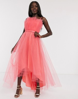 Dolly & Delicious tulle bardot layered high low prom midi dress in coral