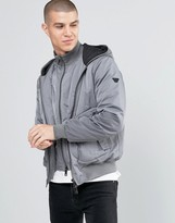 Armani Jeans Jacket With Hood & Mock Insert In Grey Water Repellent