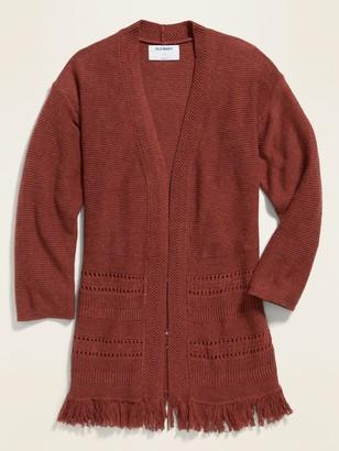 Old Navy Fringe-Hem Open-Front Sweater for Girls