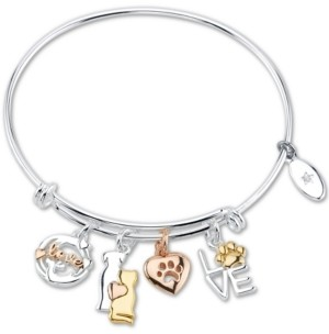 """Unwritten Love"""" Cat and Dog Paw Charm Adjustable Bangle Bracelet in Tri-Tone & Stainless Steel with Silver Plated Charms"""