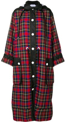 NO KA 'OI Long Hooded Plaid Coat