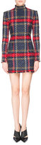 Balmain Plaid Mock-Neck Mini Dress, Red/Blue