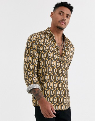 Asos Design DESIGN regular geo print shirt in stone