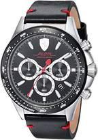 Ferrari Scuderia Men's 'PILOTA' Quartz Stainless Steel and Leather Casual Watch, Color:Black (Model: 0830389)