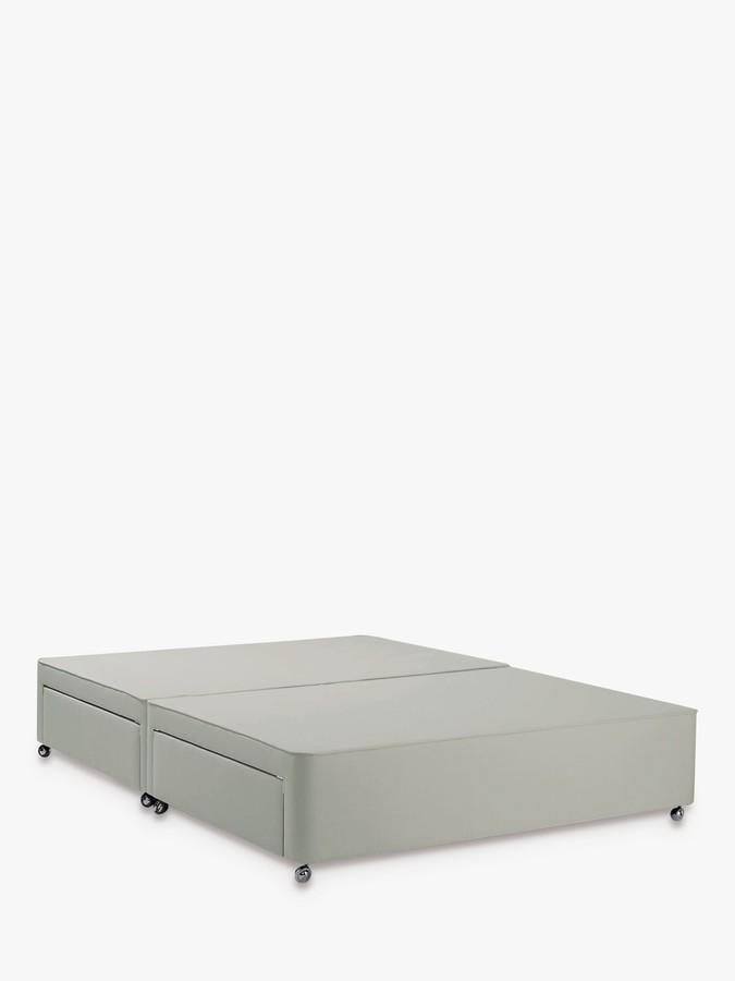 John Lewis & Partners Non Sprung 4 Drawer Storage Upholstered Divan Base, King Size, Canvas Stone Grey, FSC-Certified (Pine)