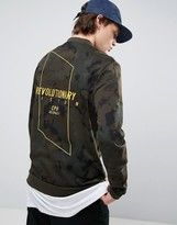 Asos Jersey Bomber Jacket With Embroidery In Camo Print