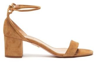 Aquazzura City 50 Block-heel Suede Sandals - Womens - Tan