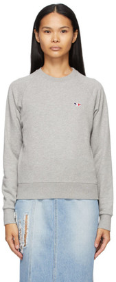 MAISON KITSUNÉ Grey Tricolor Fox Patch Sweatshirt