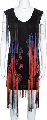 Just Cavalli Black Jersey Fringe Detail Shift Dress M