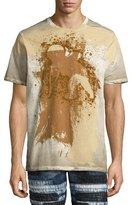 PRPS Permafrost Paint Cherub Logo-T-Shirt, White/Beige/Brown