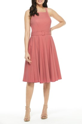 Gal Meets Glam Ruth Square Neck Fit & Flare Linen Blend Dress