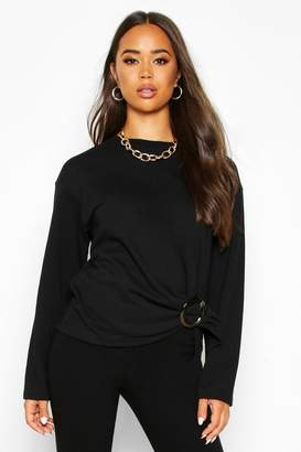 boohoo Ring Detail Tie Waist Sweat