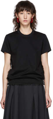 Noir Kei Ninomiya Black Faux-Fur Detail T-Shirt