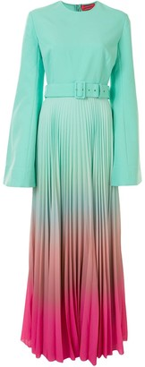 SOLACE London Bell-Sleeved Belted Ombre Dress