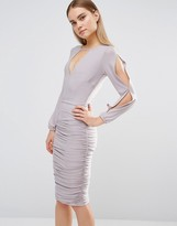 AX Paris Split Arm Ruched Dress Long Sleeve