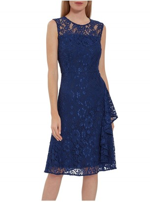 Gina Bacconi Lilita Corded Lace Waterfall Frill Dress
