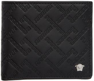 Versace Black and Silver Greek Key Wallet