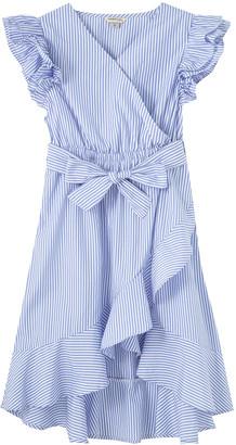 Habitual Girl's Shae Striped Faux-Wrap Ruffle Dress, Size 7-14