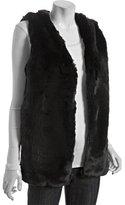black faux fur long vest