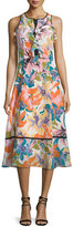 Nanette Lepore Sleeveless Ruffle-Trim Midi Dress, Tangerine/Multi